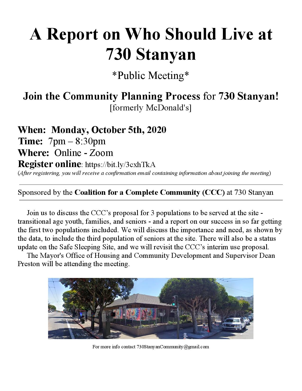 Oct 5th CCC Community Meeting Flyer